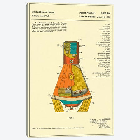 NASA Space Capsule Patent Canvas Print #JBL168} by Jazzberry Blue Canvas Artwork