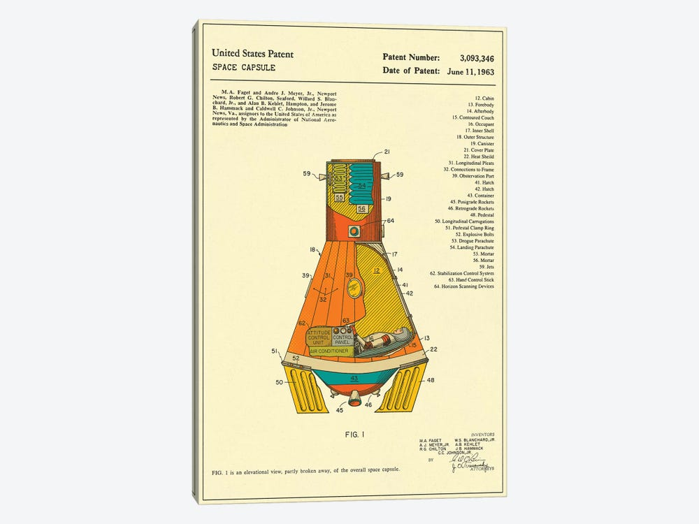 NASA Space Capsule Patent 1-piece Canvas Artwork