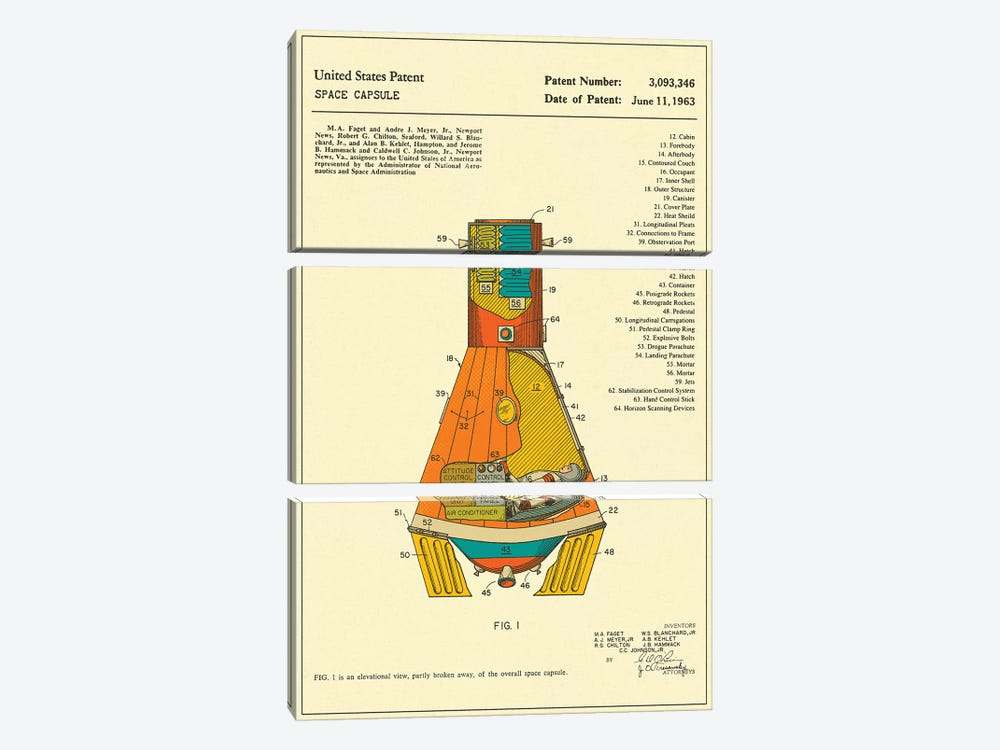 NASA Space Capsule Patent 3-piece Canvas Wall Art