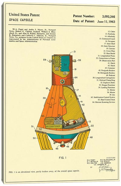 NASA Space Capsule Patent Canvas Art Print