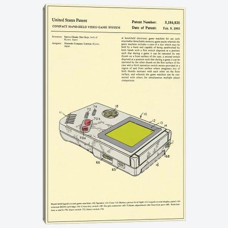 "Satoru Okada & Shin Kojo (Nintendo) Compact Hand-Held Video Game System (""Game Boy"") Patent Canvas Print #JBL170} by Jazzberry Blue Canvas Art Print"
