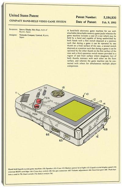 "Satoru Okada & Shin Kojo (Nintendo) Compact Hand-Held Video Game System (""Game Boy"") Patent Canvas Print #JBL170"