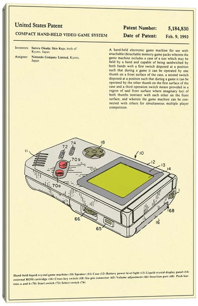 "Satoru Okada & Shin Kojo (Nintendo) Compact Hand-Held Video Game System (""Game Boy"") Patent Canvas Art Print"