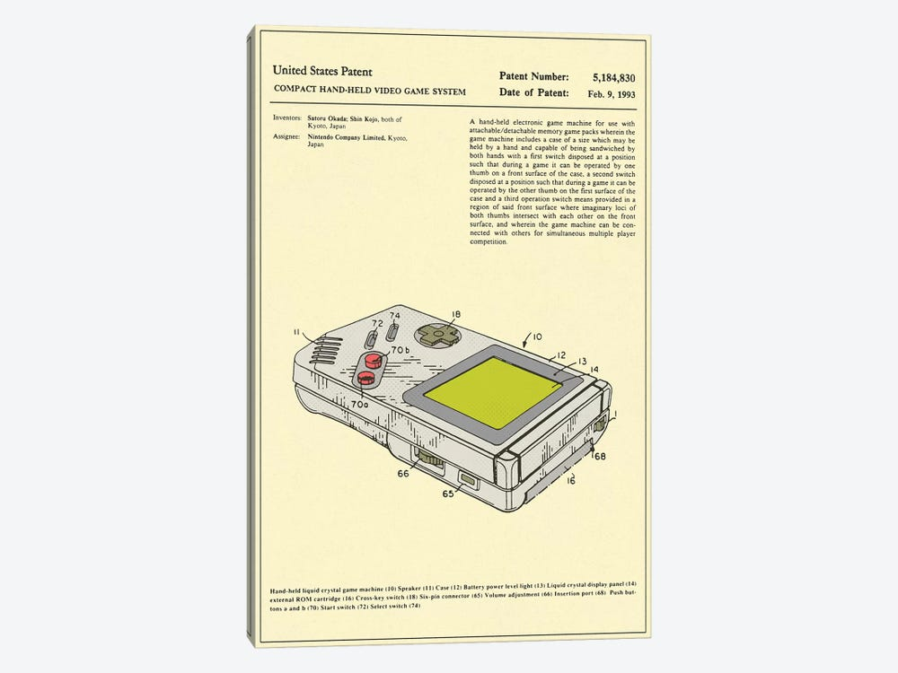 "Satoru Okada & Shin Kojo (Nintendo) Compact Hand-Held Video Game System (""Game Boy"") Patent by Jazzberry Blue 1-piece Art Print"