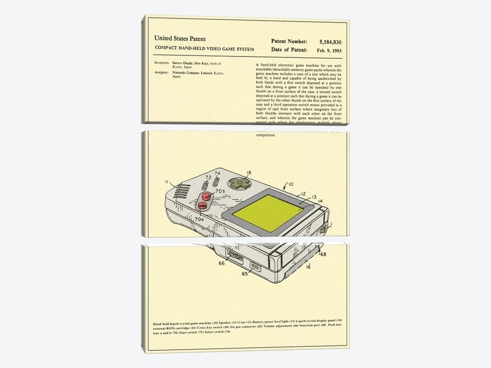 "Satoru Okada & Shin Kojo (Nintendo) Compact Hand-Held Video Game System (""Game Boy"") Patent by Jazzberry Blue 3-piece Art Print"
