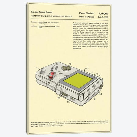 "Satoru Okada & Shin Kojo (Nintendo) Compact Hand-Held Video Game System (""Game Boy"") Patent Canvas Print #JBL170} by Jazzberry Blue Canvas Art Print"