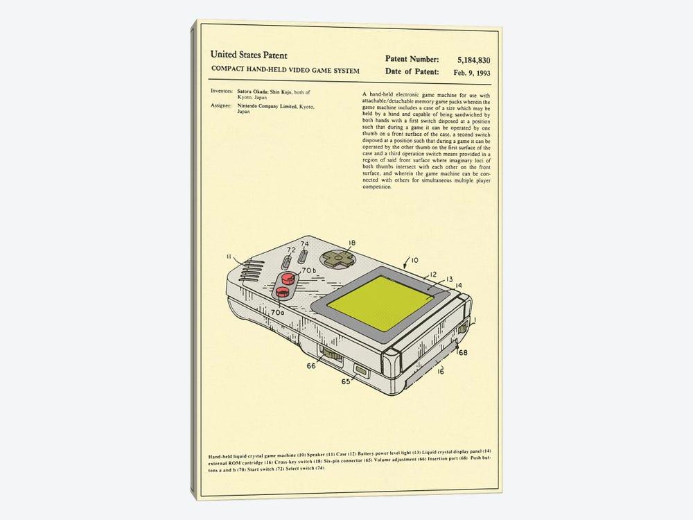 "Satoru Okada & Shin Kojo (Nintendo) Compact Hand-Held Video Game System (""Game Boy"") Patent by Jazzberry Blue 1-piece Art Print"