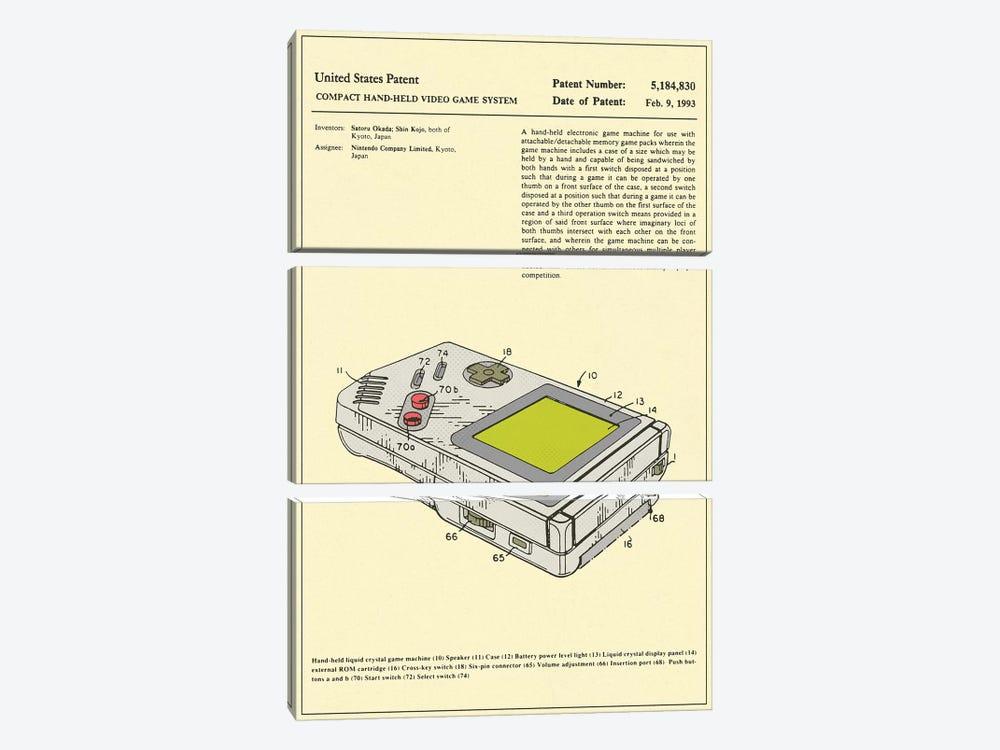 "Satoru Okada & Shin Kojo (Nintendo) Compact Hand-Held Video Game System (""Game Boy"") Patent by Jazzberry Blue 3-piece Art Print"