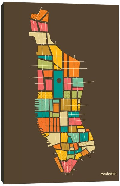 Abstract Manhattan Neighborhood Map Canvas Art Print
