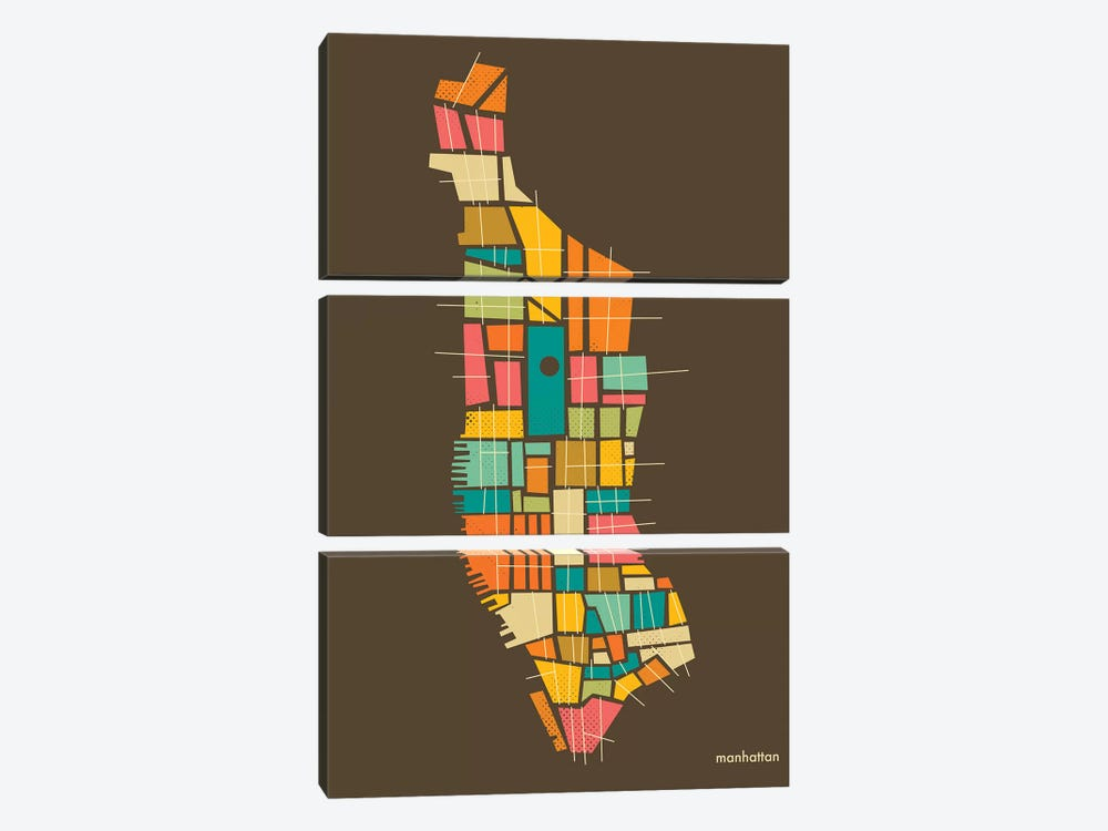 Abstract Manhattan Neighborhood Map by Jazzberry Blue 3-piece Canvas Print
