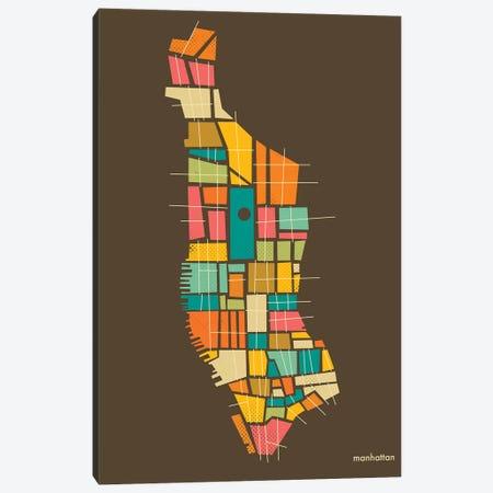 Abstract Manhattan Neighborhood Map Canvas Print #JBL172} by Jazzberry Blue Canvas Print