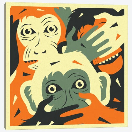 No Evil I Canvas Print #JBL196} by Jazzberry Blue Canvas Wall Art