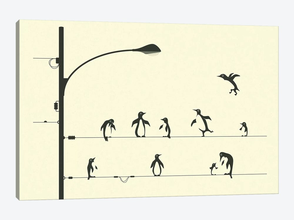 Penguins On A Wire by Jazzberry Blue 1-piece Canvas Wall Art