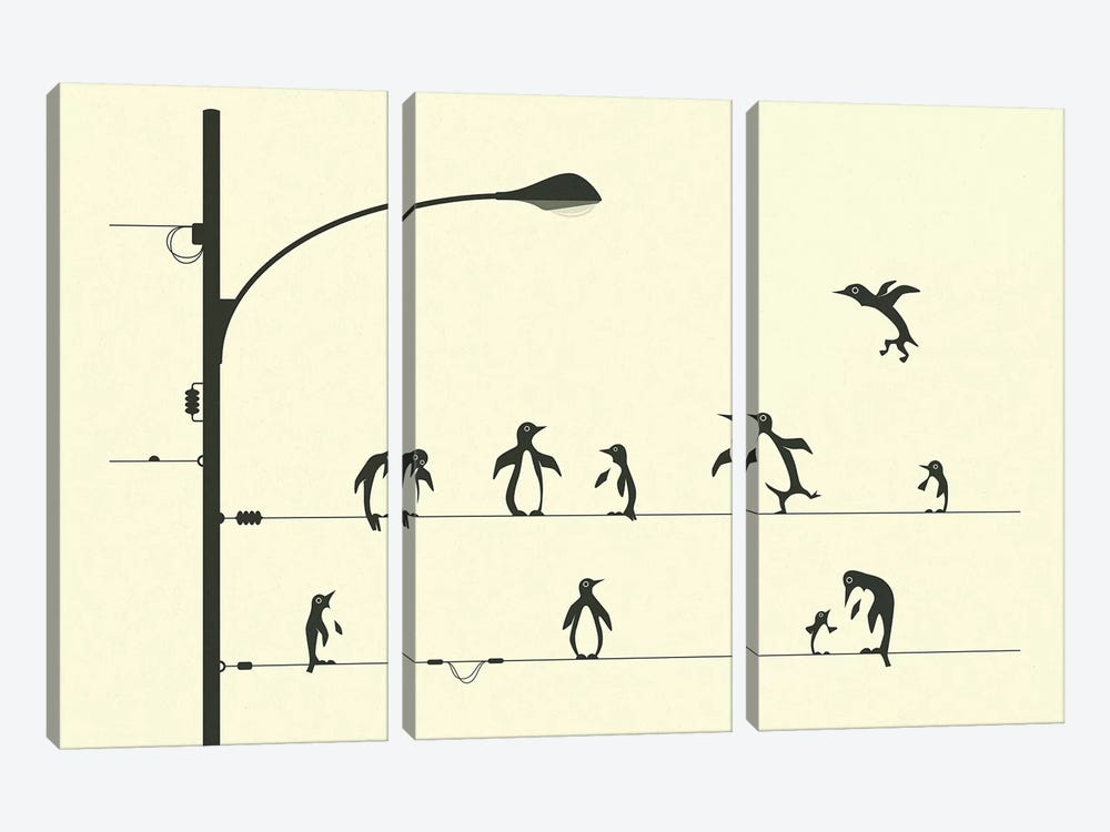 Penguins On A Wire by Jazzberry Blue 3-piece Canvas Art