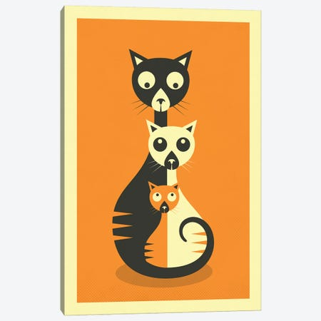 Sitting Cats Canvas Print #JBL202} by Jazzberry Blue Canvas Art Print