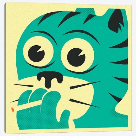 Smoking Cat Canvas Print #JBL203} by Jazzberry Blue Art Print