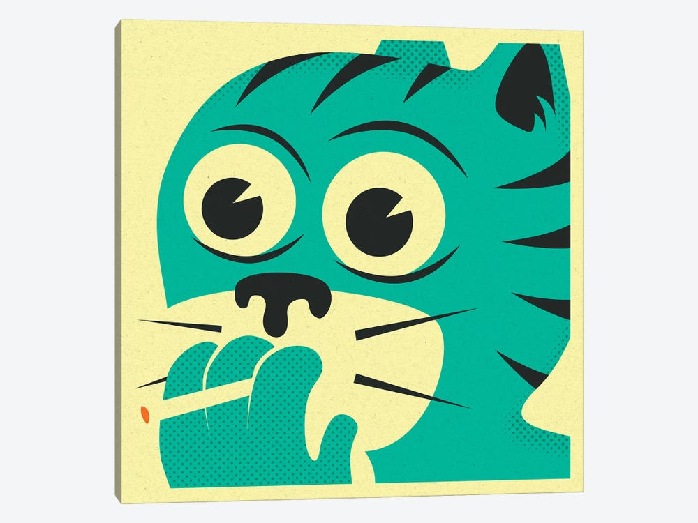 Smoking Cat by Jazzberry Blue 1-piece Canvas Print