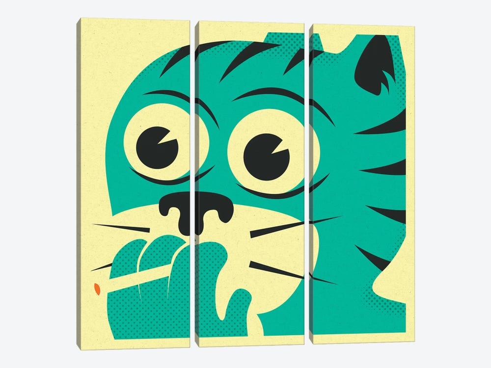 Smoking Cat by Jazzberry Blue 3-piece Art Print