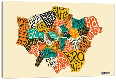 Typo-Geography Series: London Canvas Art Print