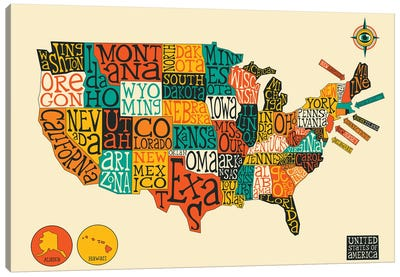 Typo-Geography Series: U.S.A Canvas Art Print