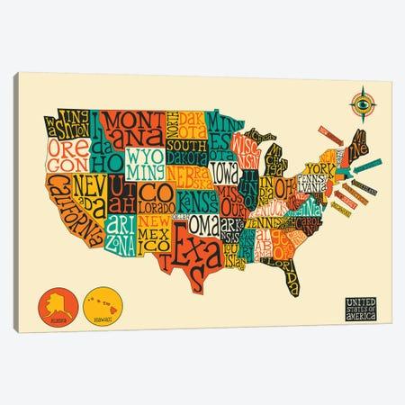 U.S.A Canvas Print #JBL212} by Jazzberry Blue Canvas Artwork