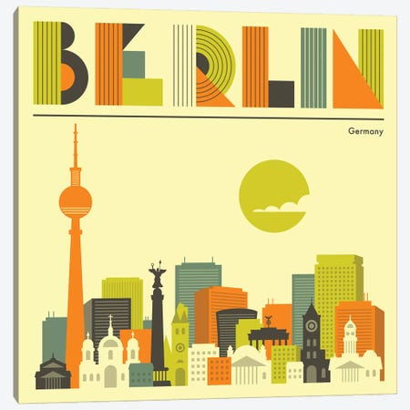 Berlin Skyline I Canvas Print #JBL216} by Jazzberry Blue Canvas Print