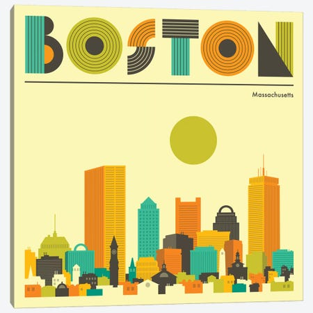 Boston Skyline I Canvas Print #JBL218} by Jazzberry Blue Canvas Artwork