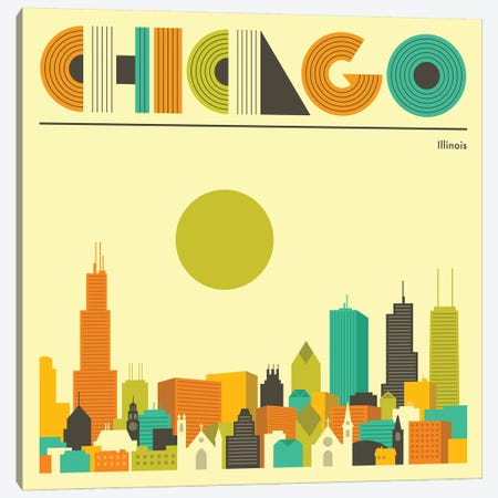 Chicago Skyline I Canvas Print #JBL219} by Jazzberry Blue Canvas Artwork