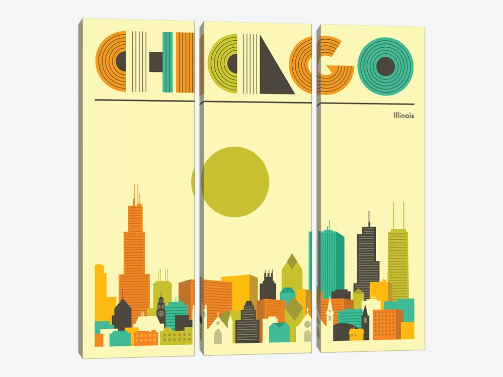 Chicago Skyline I by Jazzberry Blue 3-piece Canvas Artwork