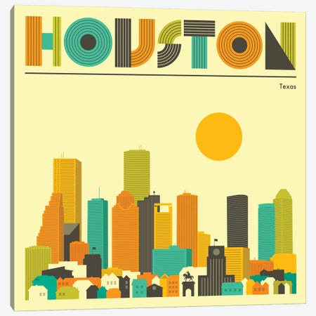 Houston Skyline II Canvas Print #JBL225} by Jazzberry Blue Canvas Art