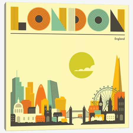 London Skyline I Canvas Print #JBL226} by Jazzberry Blue Canvas Artwork