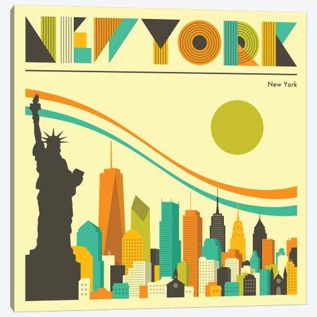 New York Skyline I Canvas Print #JBL230} by Jazzberry Blue Canvas Artwork