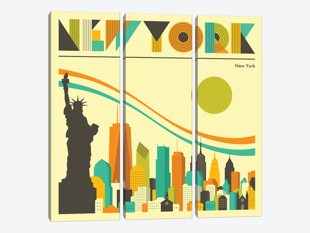 New York Skyline I by Jazzberry Blue 3-piece Canvas Art Print