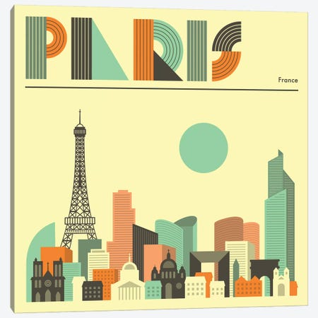 Paris Skyline I Canvas Print #JBL232} by Jazzberry Blue Canvas Wall Art