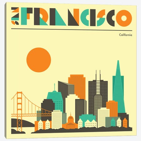 San Francisco Skyline I Canvas Print #JBL234} by Jazzberry Blue Art Print