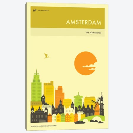 Amsterdam Skyline Canvas Print #JBL239} by Jazzberry Blue Canvas Wall Art