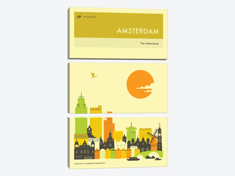 Amsterdam Skyline by Jazzberry Blue 3-piece Canvas Wall Art