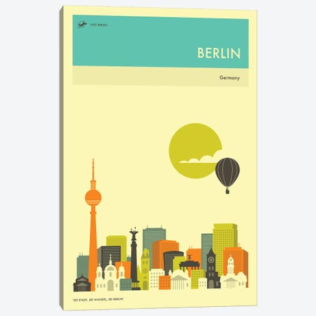 Berlin Skyline II Canvas Print #JBL242} by Jazzberry Blue Canvas Art Print