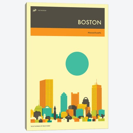 Boston Skyline II Canvas Print #JBL243} by Jazzberry Blue Art Print