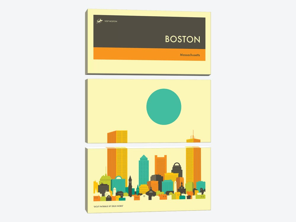 Boston Skyline II by Jazzberry Blue 3-piece Canvas Art Print