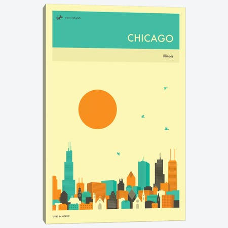 Chicago Skyline II Canvas Print #JBL245} by Jazzberry Blue Canvas Art