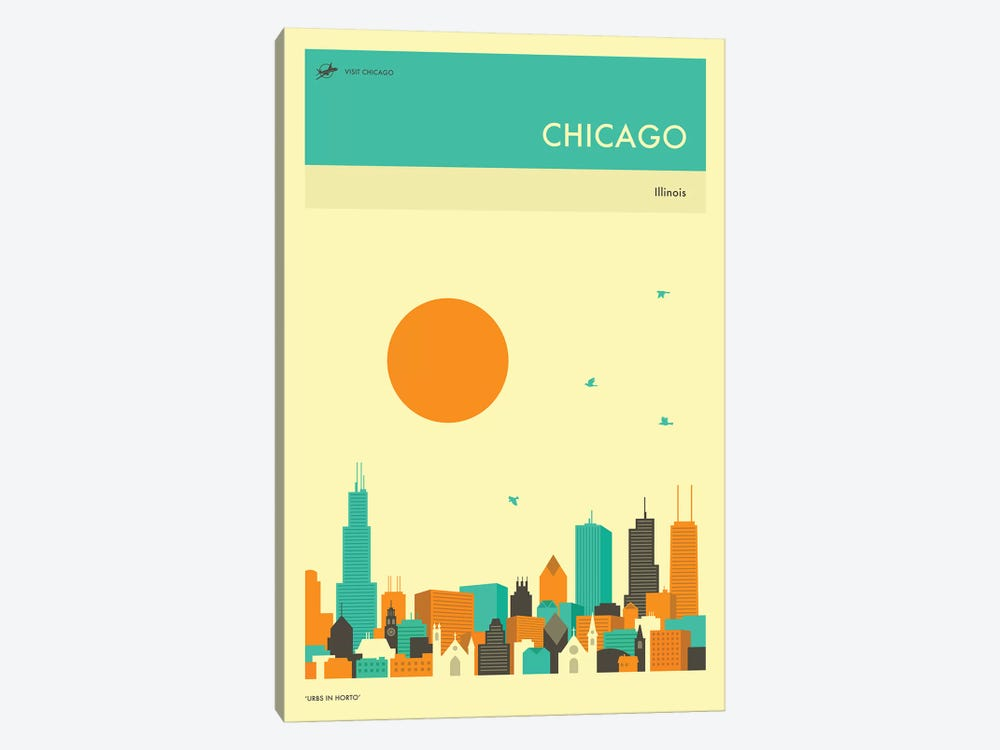 Chicago Skyline II Canvas Wall Art by Jazzberry Blue | iCanvas