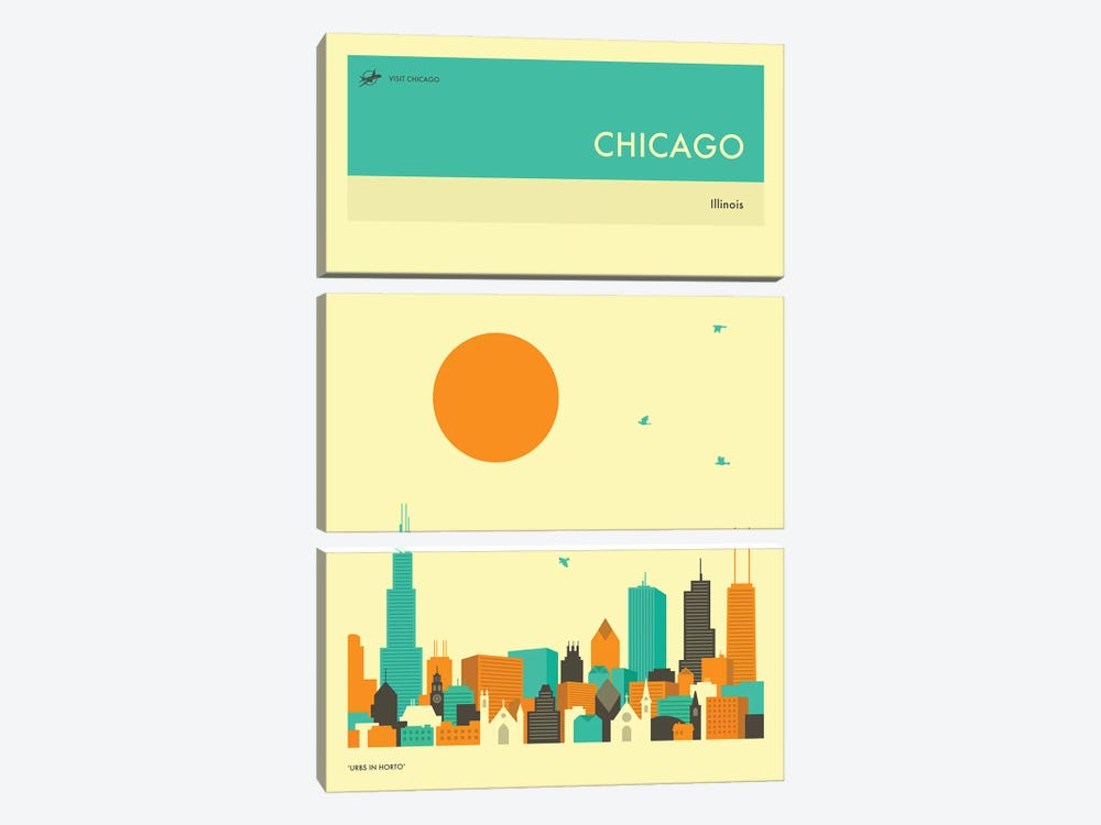 Chicago Skyline II by Jazzberry Blue 3-piece Art Print