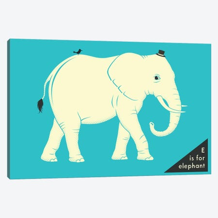 E Is For Elephant Canvas Print #JBL250} by Jazzberry Blue Canvas Artwork