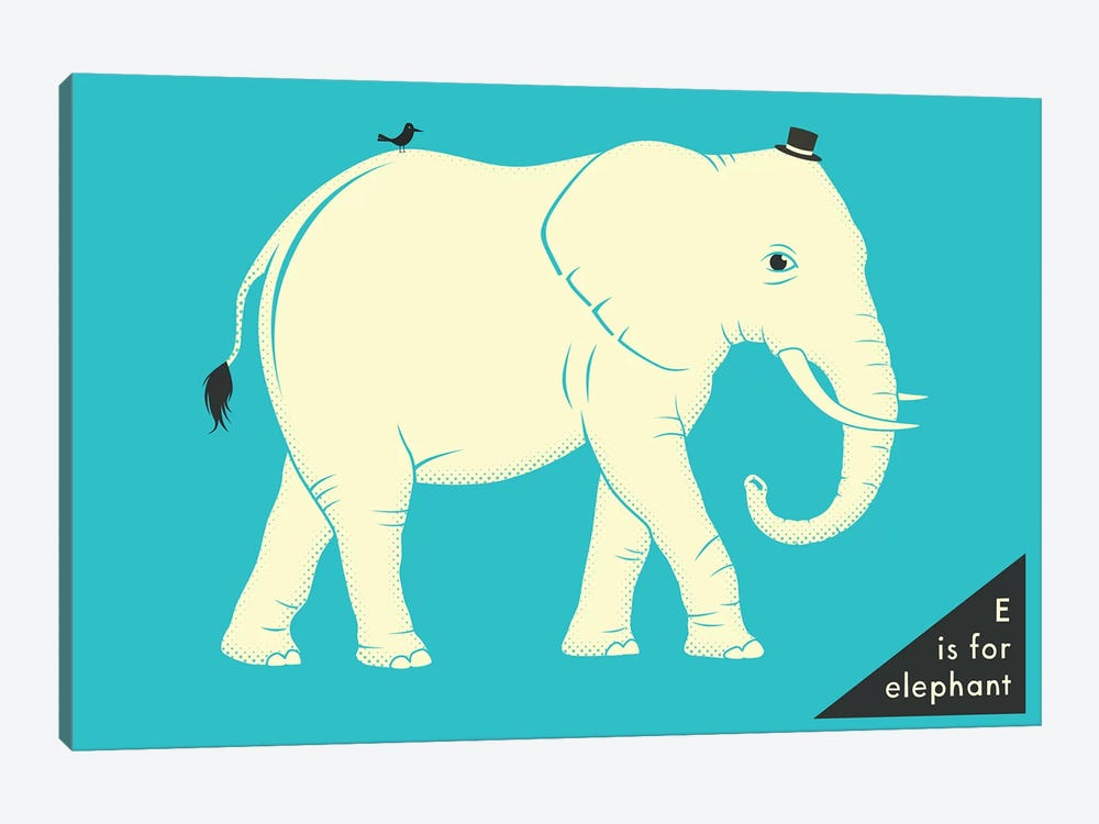 E Is For Elephant by Jazzberry Blue 1-piece Canvas Art Print