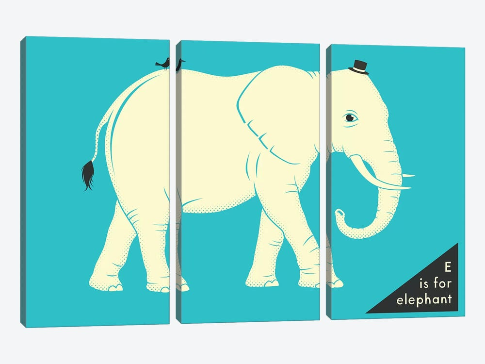 E Is For Elephant by Jazzberry Blue 3-piece Canvas Print