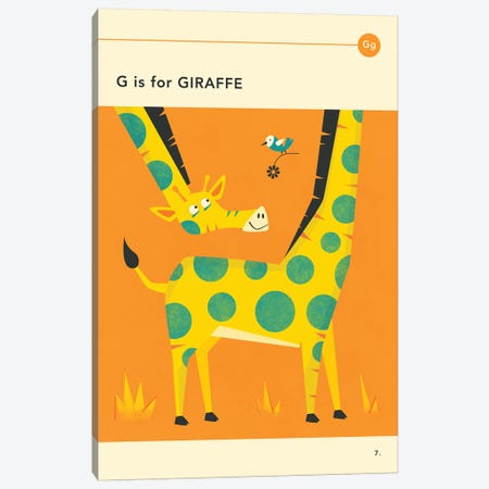 G Is For Giraffe Canvas Print #JBL254} by Jazzberry Blue Canvas Print