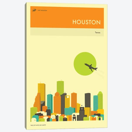 Houston Skyline III Canvas Print #JBL261} by Jazzberry Blue Art Print