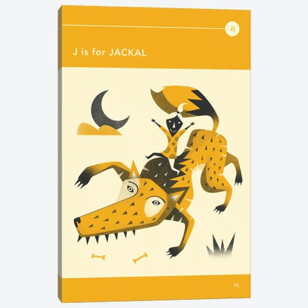 J Is For Jackal Canvas Print #JBL264} by Jazzberry Blue Canvas Art