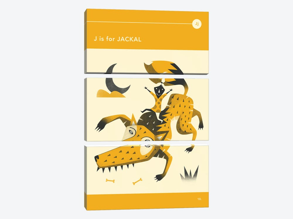 J Is For Jackal by Jazzberry Blue 3-piece Canvas Artwork